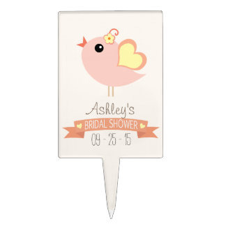 Coral, Peach, Yellow Love Bird Bridal Shower Cake Topper