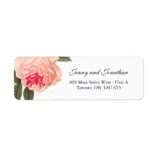 Coral Peonie with Navy Text Return Address Labels