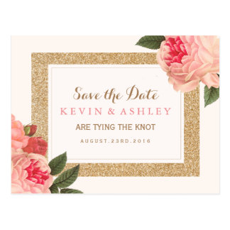 Coral Peonies Save the Date Postcard