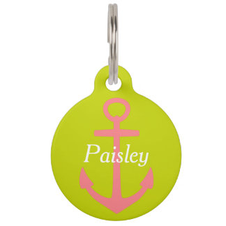 Coral Pink Anchor on Lime Green Personalized Pet Name Tag