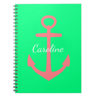 Coral Pink Anchor on Tropical Green Personalized Notebook