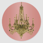 Coral Pink and Gold Chandelier Stickers
