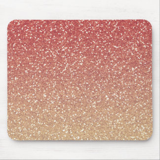 Coral Pink and Gold Faux Glitter Mouse Mat