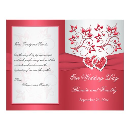 Coral Pink and Gray Floral Hearts Wedding Program Personalized Flyer
