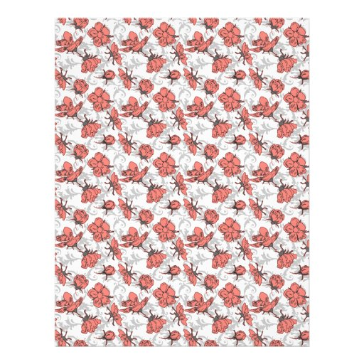Coral Pink and Gray Vintage Floral Pattern Personalized Flyer