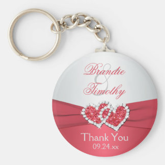 Coral Pink and Gray Wedding Favor Key Chain