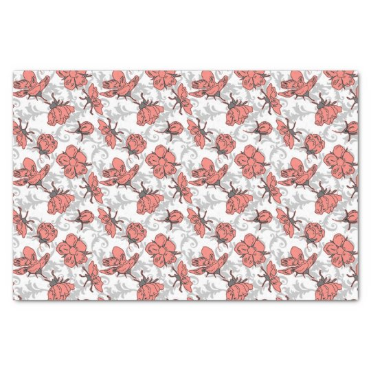 Coral Pink and Grey Vintage Floral Pattern Tissue