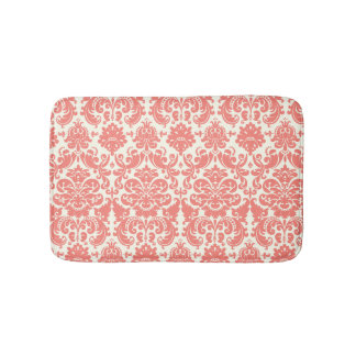 Coral Pink and Ivory Elegant Damask Pattern Bath Mat
