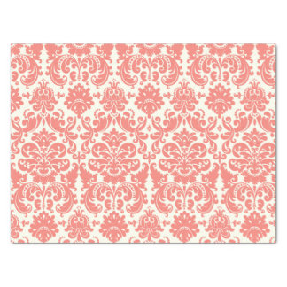 "Coral Pink and Ivory Elegant Damask Pattern 15"" X 20"" Tissue Paper"