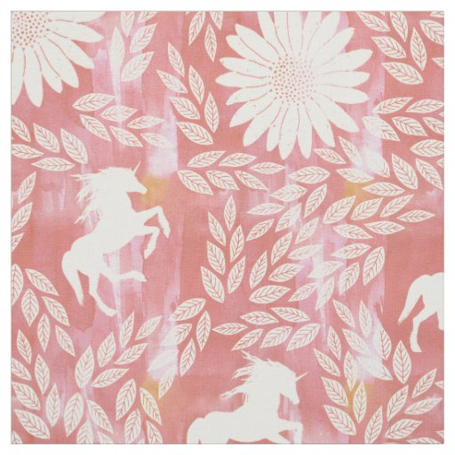 Coral, Pink and Ivory Unicorn Floral Pattern Fabric