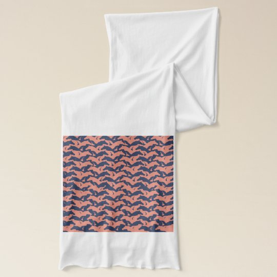 Coral Pink and Navy Blue Horse Herd Pattern