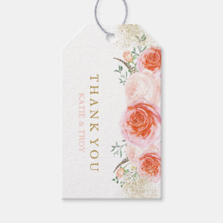 Coral, Pink and Peach Wedding Favor Gift Hang Tag