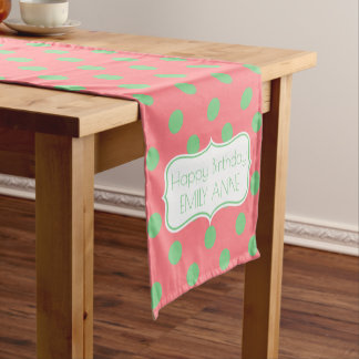 Coral Pink and Sea Green Personalized Birthday Short Table Runner