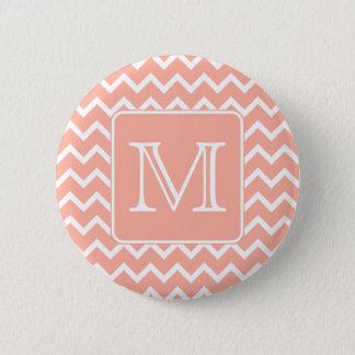Coral Pink and White Chevron with Custom Monogram. 6 Cm Round Badge