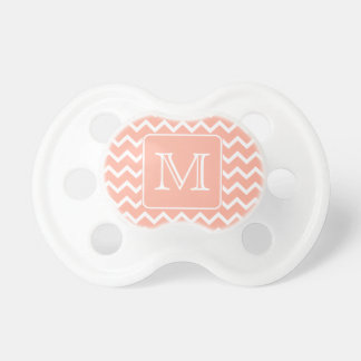 Coral Pink and White Chevron with Custom Monogram. Baby Pacifier