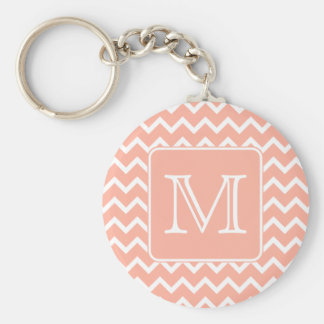 Coral Pink and White Chevron with Custom Monogram. Basic Round Button Key Ring