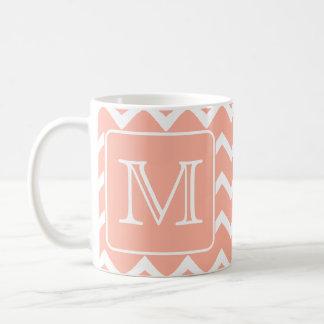 Coral Pink and White Chevron with Custom Monogram. Basic White Mug