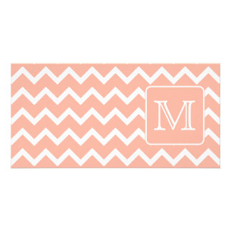 Coral Pink and White Chevron with Custom Monogram. Card