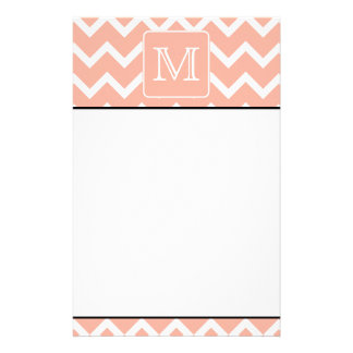 Coral Pink and White Chevron with Custom Monogram. Custom Stationery