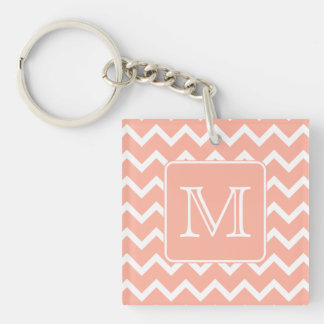 Coral Pink and White Chevron with Custom Monogram. Key Ring