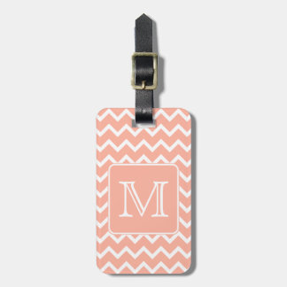 Coral Pink and White Chevron with Custom Monogram. Luggage Tag