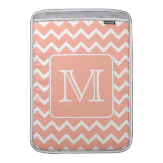 Coral Pink and White Chevron with Custom Monogram. MacBook Sleeve