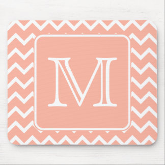 Coral Pink and White Chevron with Custom Monogram. Mouse Mat