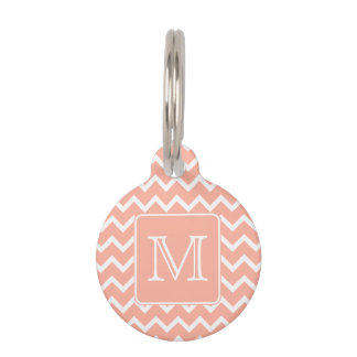 Coral Pink and White Chevron with Custom Monogram. Pet Tag