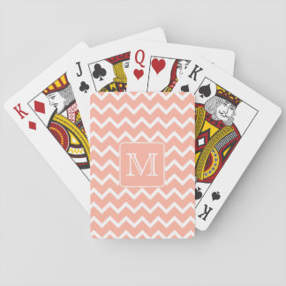 Coral Pink and White Chevron with Custom Monogram. Playing Cards
