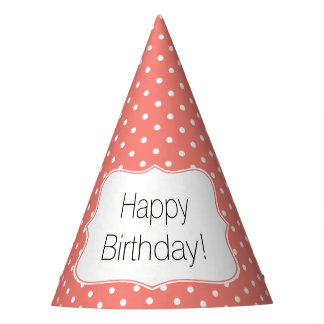 Coral Pink and White Polka Dot Birthday Party Party Hat