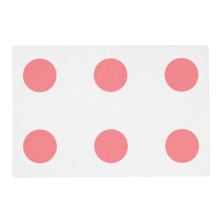 Coral Pink and White Polka Dot Reversible Laminated Place Mat