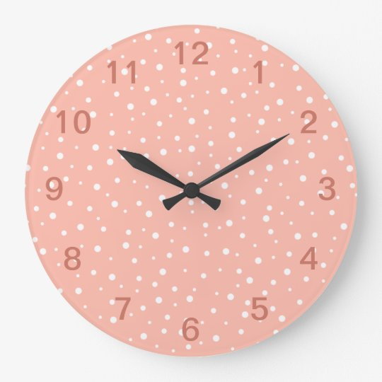 Coral Pink and White Spotted Pattern. Wall Clock