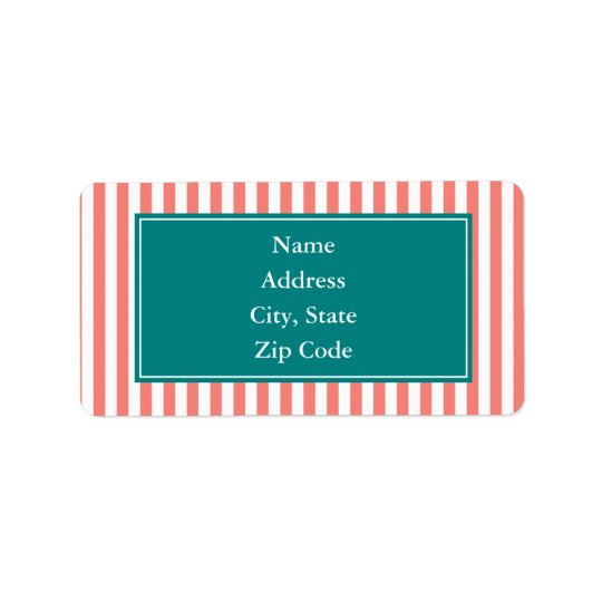 Coral Pink and White Stripes Address Label