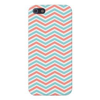 Coral Pink, Aqua Blue, White Chevron Stripes iPhone 5 Case