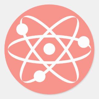 Coral Pink Atom Classic Round Sticker