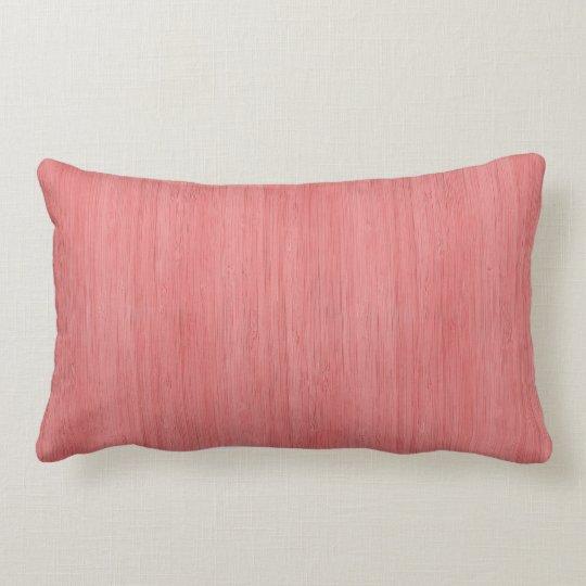 Coral Pink Bamboo Wood Grain Look Lumbar Cushion