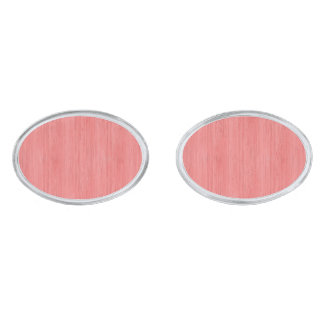 Coral Pink Bamboo Wood Grain Look Silver Finish Cufflinks