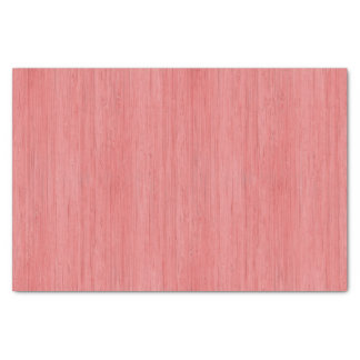 Coral Pink Bamboo Wood Grain Look Tissue Paper