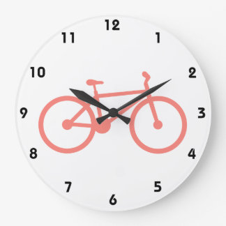Coral Pink Bicycle Large Clock