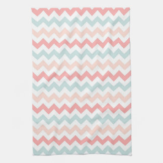 Coral, Pink, Blue Chevron Tea Towel