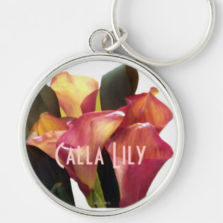 Coral Pink Callas Silver-Colored Round Key Ring