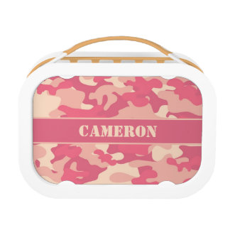 Coral Pink Camouflage (Camo) | Personalized Lunch Boxes