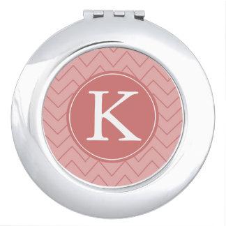 Coral Pink Chevron monogram Vanity Mirrors