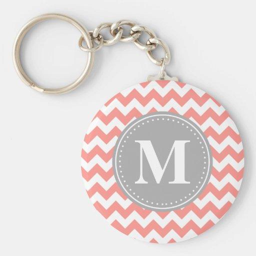 Coral Pink Chevron Zigzag Grey Monogram Key Chain