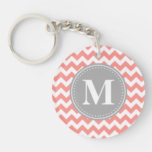 Coral Pink Chevron Zigzag Grey Monogram Keychains