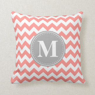 Coral Pink Chevron Zigzag Grey Monogram Pillow