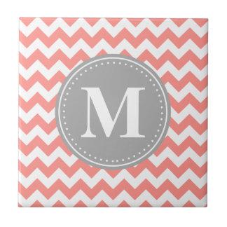 Coral Pink Chevron Zigzag Grey Monogram Small Square Tile