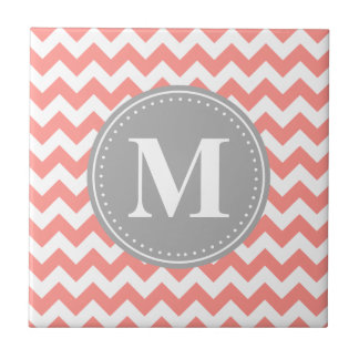 Coral Pink Chevron Zigzag Grey Monogram Tile
