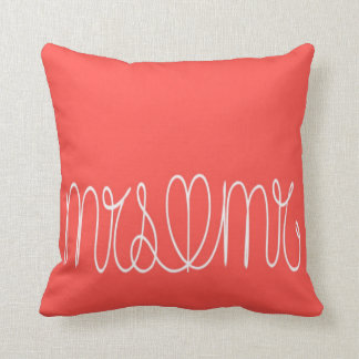 Coral Pink Couple's Mrs & Mr Throw Pillow