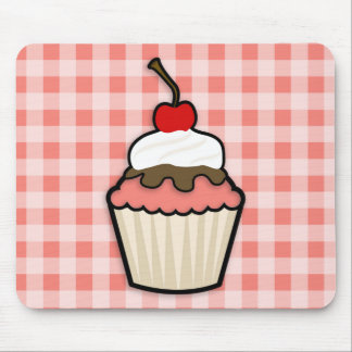 Coral Pink Cupcake Mouse Pad